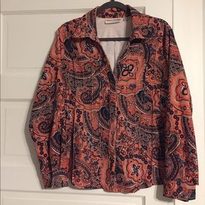 Rebecca Malone Corduroy Button-Up Shirt - Sz L